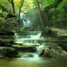 MIRAGE by Dana Johnson - Landscapes Waterscapes ( waterfalls, mirage, waterscape, cascade, falls, trees, ozarks, landscape, rocks )