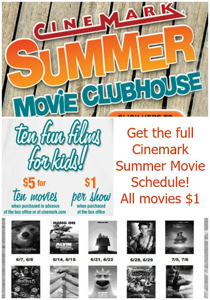 $1 Cinemark Summer Movie Clubhouse Schedule has been announced!