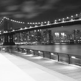 NYC Skyline by Debbie Quick - Black & White Buildings & Architecture ( debbie quick, city, manhattan, new york city skyline, skyline, water, new york, debs creative images, down under the manhattan and brooklyn overpasses, dumbo, new york city, buildings, brooklyn, nyc, black and white, river, landscape, architecture )