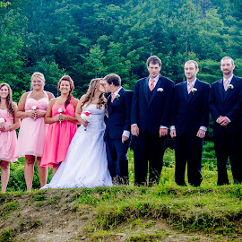 Wright Weddding by Melissa Culp - Wedding Groups ( wright, pinkandblack, wedding, outdoors, group )