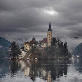 Take me to church by Dubravka Krickic - Buildings & Architecture Places of Worship ( clouds, reflection, church, slovenia, bled, dark, lake, architecture, island )
