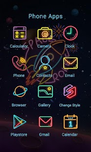2 Space Neon Theme-ZERO Launcher App screenshot