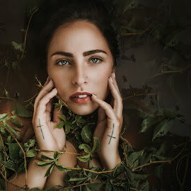 Entangled Beauty by Heather Way - People Portraits of Women ( model, nature, vines, woman, beautiful, beauty in nature, portrait )