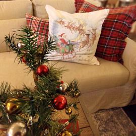 Christmas Seating by Cheryl Beaudoin - Public Holidays Christmas ( pillow, tree, santa, plaid, christmas, ornaments, , Christmas, card, Santa, Santa Claus, holiday, holidays, season, Advent )