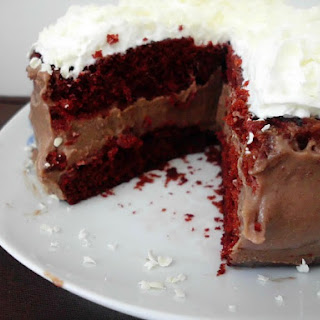 Chocolate Cheesecake Stuffed Red Velvet Cake with White Chocolate Whipped Cream Frosting