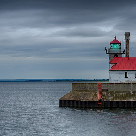 South Breakwater Lighthouse by Dale Minter - City,  Street & Park  Historic Districts ( water, duluth, harbor, canal park, lighthouse, cloudy )