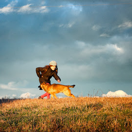Play by Dalibor Paukovic - Animals - Dogs Running ( clouds, playing, child, hill, playful, sky, grass, pet, play, dog )