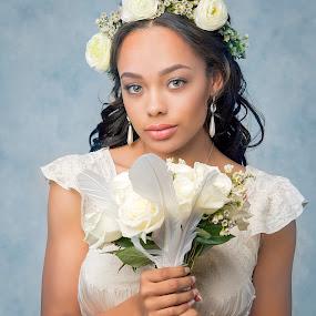 Going to the Chapel by Chuck Mason - People Portraits of Women ( bouquet, headshot, wedding dress, flowers, bride )