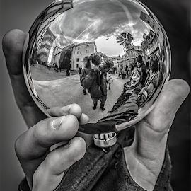 Little world! by Jesus Giraldo - Black & White Macro ( hand, concept, ball, art, street, glass )