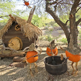 What's for dinner? by Nancy Young - Public Holidays Halloween ( witch, pumpkins, cooking, pot, halloween )