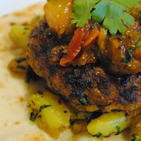 Kheema Aloo Burgers with Fresh Mango Chutney Wrapped in Garlic Naan for #BurgerMonth2016