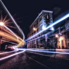 The Central Bar by Adam Lang - City,  Street & Park  Night ( trailing light, the central bar, slow exposure, gateshead, bar )