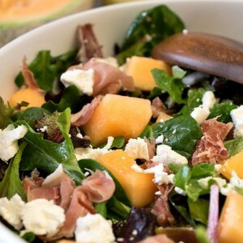 Mixed Greens with Prosciutto and Cantaloupe