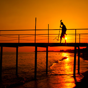 a man by Gokhan Bayraktar - Landscapes Sunsets & Sunrises ( beaches, piers, sunset, sea )