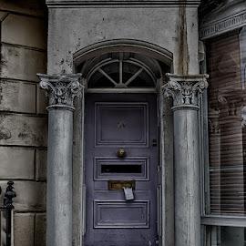 Lilac doorway  by Jackie Matthews - City,  Street & Park  Neighborhoods ( sinister, brighton, doorway, lilac, columns, deteriorated, entrance, aged )