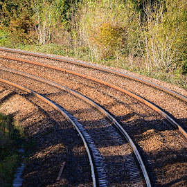 Curved Railway Track by Bryan Wenham-Baker - Transportation Trains ( curved rail, railway lines, curved railway, railway, rail, curved rails, curved rail track, rail track )