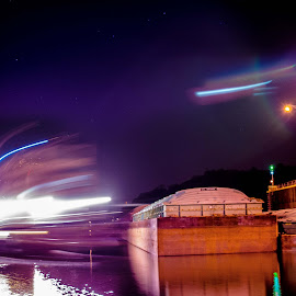Tug by Eric McDonald - Abstract Light Painting ( light trail, long exposure, tug, river,  )