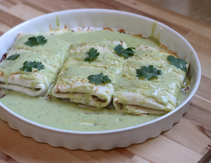 Chicken Enchiladas With Avocado Cream Sauce Recipe | Yummly