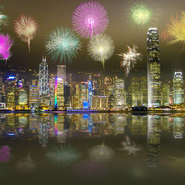 Hong Kong at Night by Jan Murphy - Digital Art Places ( office, lights, water, landmark, hong kong, reflection, buildings, fireworks, night, river, hotels, , city at night, street at night, park at night, nightlife, night life, nighttime in the city )