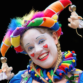 The Jester's Assistant by Judy Rosanno - People Musicians & Entertainers ( person, happy, woman, jester, lady, jester's assistant, fool hearty, portrait, entertainer,  )