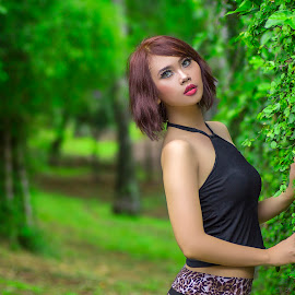 Girl In A Forest by Ka Seng - People Fashion ( sexy, fashion, model, girl, beautiful, forest )