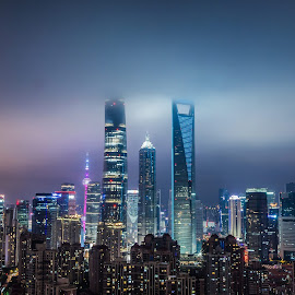 by Wahan Shahbazian - City,  Street & Park  Skylines ( clouds, low clouds, shanghai tower, skyline, oriental pearl tower, shanghai world financial centre, oriental, jin mao tower, colorfull, panorama, nightscape, city, contrast, lights, polution, tower, bund, jin mao, city lights, bottle opener, shanghai, city skyline, china )
