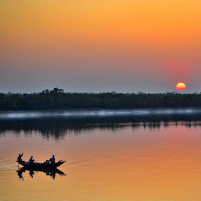 Journey  by Sagar Lahiri - Transportation Boats ( sopnomakha_photo, waterscape, sunset, pwcreflections, sagarlahiri, nikond5100,  )