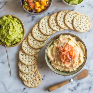 Caramelized Onion Hummus with Smoked Salmon