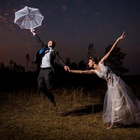 Away by Lood Goosen (LWG Photo) - Wedding Bride & Groom ( wind, wedding photography, wedding photographers, windy, brides, wedding couple, love, married, sunset, wedding, floating, couple, bride and groom, wedding photographer, bride, groom )