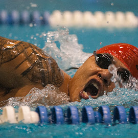 Marcus Chischilly by Elk Baiter - Sports & Fitness Swimming ( marine, warrior, navajo, swim, marcus chischilly, 100 meter freestyle )
