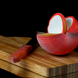 by Dipali S - Artistic Objects Other Objects ( still life, paper, apple, art, artistic, cutting, board, knife )