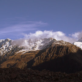 Winter at Mt Cook by Perla Tortosa - Landscapes Mountains & Hills ( clouds, mountain, nature, snow, mt cook,  )