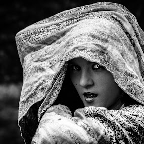 Dancing in Woods by Preston Trauscht - News & Events World Events ( exciting, mystery, black and white, female, beautiful, mysterious, portrait, enticing, eyes )