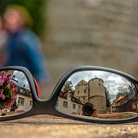 By my sunglasses! by Jesus Giraldo - Artistic Objects Glass ( reflection, building, concept, street, art, architecture, sunglasses, people, city, urban, great, streetselfie, photographer, flowers, objects,  )