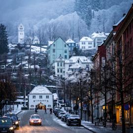 by Paulius Bruzdeilynas - City,  Street & Park  Street Scenes ( bergen, mountain, street, mood, road, frozen, sony a7ii, norway, city, sony, winter, norwegian, cars, snow, weather )