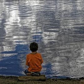 Boy Fishing by Richard Jordan - Babies & Children Children Candids