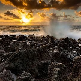 Kalapana Sunrise by Jared Goodwin - Landscapes Sunsets & Sunrises ( sunrises, cliffs, waterscape, rocky, ocean, rock, sun, sky, sunrays, cloudy, long exposure, ocean view, rocks, hawaii, water, clouds, cliff, sea, cloudscape, seascape, paradise, sunset, cloud, sunrise, slow shutter )