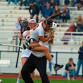 Celebration by Kevin Mummau - Sports & Fitness Lacrosse ( pigtail, hug, joy, celebration, win, celebrate, jump )