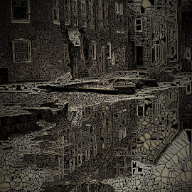 Remains of Rain by Roxanne Dean - Abstract Patterns ( distorted, puddles, buildings, dimensions, light,  )