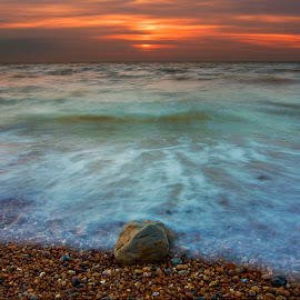 Ebb and Flow by Adrian Campfield - Landscapes Beaches ( shore, water, clouds, ebb, waves, sea, pebbles, beach, flow, tidal, coast, sky, tide, long exposure, sunrise, rocks )