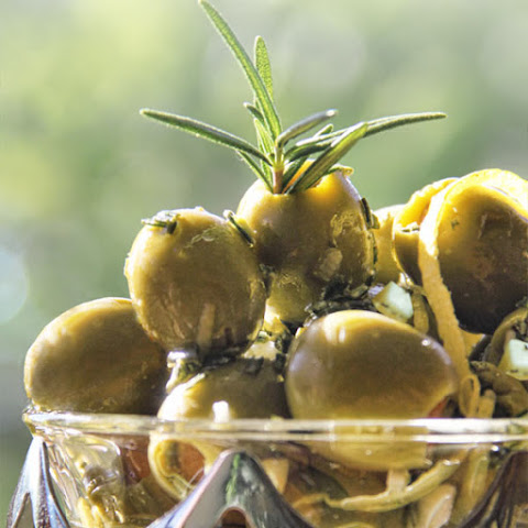 Rosemary-Lemon Spanish Olives with Manchego Cheese