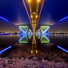 by RJ Ramoneda - Buildings & Architecture Bridges & Suspended Structures ( pwcarcreflections, reflection, blue, dubai, futuristic, bridge, symmetry, architecture )