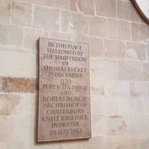 The spot in Canterbury Cathedral at which Thomas Becket, Archbishop of Canterbury, was murdered by supporters of King Henry II in 1170 CE.