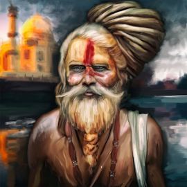 Indian ascetic by Navid Yazdani - Illustration People ( painting, ascetic, digital painting, indian, digital art )