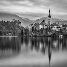 Bled by Joško Šimic - Black & White Landscapes ( bled slovenia, water, reflection, mountain, famous place, church, cultures, scenics, lake, cityscape, travel, architecture, landscape, sky, nature, mountain range, sunset, outdoors, summer, town, everypixel, european alps,  )