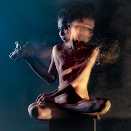 Playing Dambaru by Bihong Kollogov - Digital Art People ( music, color, fine art, shiva, nude, indian, slow shutter )
