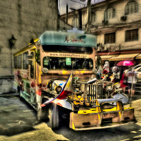by Reagan Estrella - Transportation Automobiles ( bus, taxi, hdr, wheels, vehicle, pinoy, fun, travel, yellow, pink umbrella, auv, tours, time machine, flag, jeep, jeepney, yellow cab, pink, manila, philippines, pinas, pink dress, automobile, automotive, car, photography, bike, exotic )