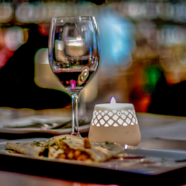 Wind with Dinner by Myra Brizendine Wilson - Food & Drink Alcohol & Drinks ( wine, candle, food, food on plates, wine glass,  )