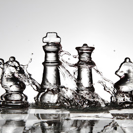 Water on glass chess pieces by Peter Salmon - Artistic Objects Glass ( water, pieces, splash, chess, glass )