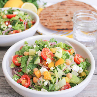 Chopped Greek Salad with Chickpeas and Avocado